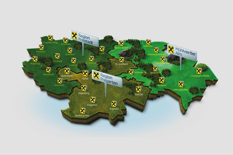 Raiffeisenbank 3D Landkarte