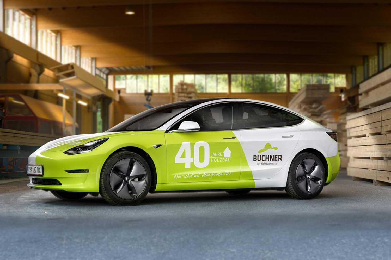 Buchner 40 Jahr Kampagne Tesla
